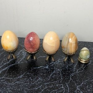 Vintage Accents - Vintage lot of alabaster marble eggs brass stands